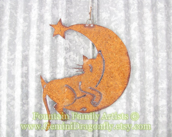 Cat Sleeping on Crescent Moon Rusty Recycled Metal Garden Art Fountain Family