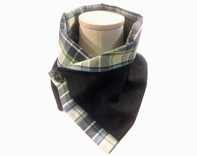 Men's Wool Pinstripe Neck Warmer with Plaid Cotton Liner, Lightweight Wool Gabardine, Dark Blue Pinstripe Neck Wrap, Unisex Scarf, Eco Gift