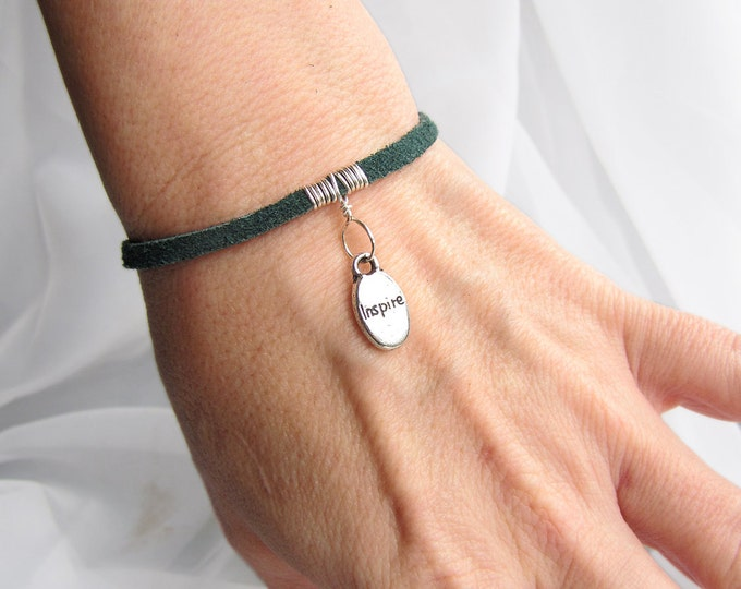 Suede Leather Bracelet in Teal Green with Silver Affirmation Charm