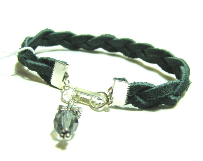 Bracelet of Braided Blue Green Suede Leather with Butterfly and Crystal Charm