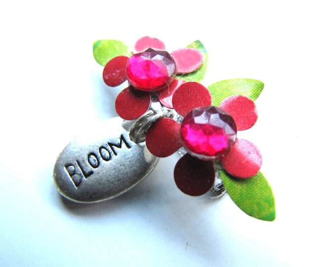 Mini Flower Brooch with Silver Charm is Eco Friendly, Handmade and Recycled floral Lapel Pin