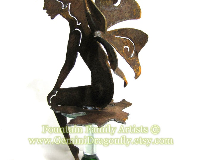 Sitting Fairy Rusty Metal Garden Art or Nursery Decor