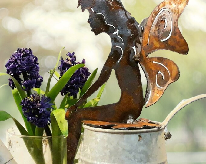 Sitting Fairy Rusty Metal Garden Art or Nursery Decor
