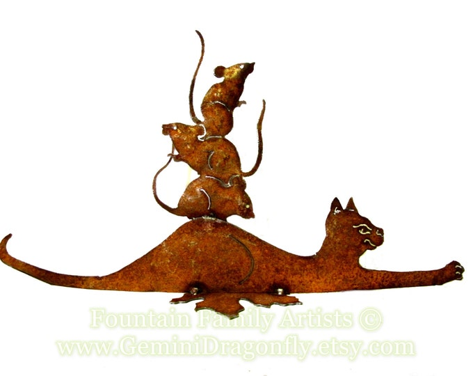 "Garden Art Cat and Mice ""Friends"" Recycled Metal Eco Gift"