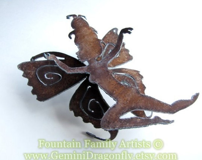 Leaping Garden Fairy Recycled Rusty Metal Garden Art or Nursery Decor