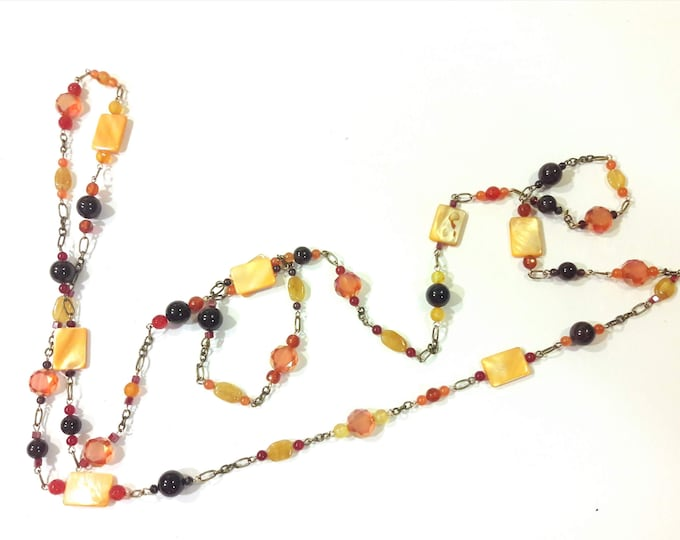 Extra Long Tangerine and Cranberry Candy Necklace with Garnet, Citrine, Crystal and Agate