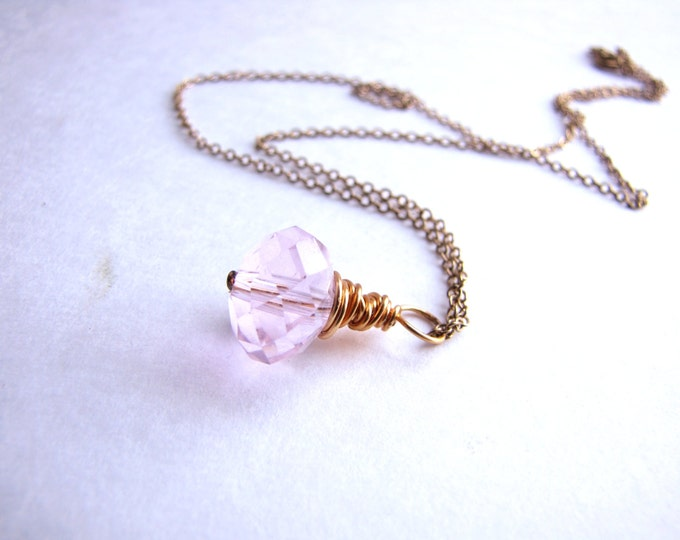 Pink Crystal Necklace, Wire Wrapped Necklace, Pink Crystal Pendant, Gold Wire Wrap, Handmade
