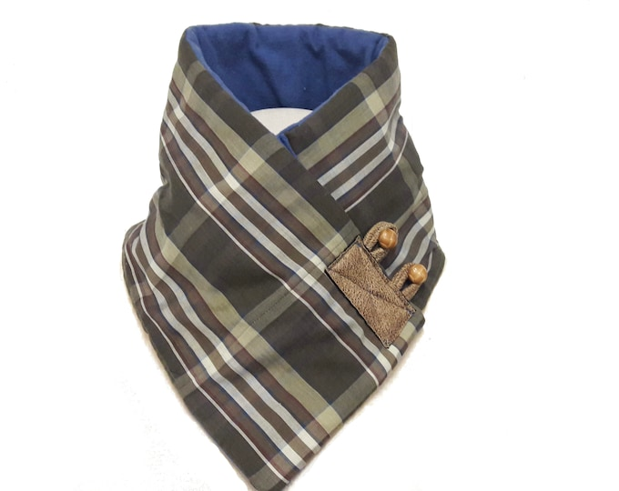 Brown and Blue Neck Warmer with Plaid Cotton Shirting and Soft Blue Fleece Lining, Unisex Crossover Scarf, Winter Scarf, Eco-Friendly Scarf
