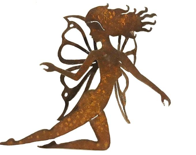 Flying Fairy Garden Art from Recycled Metal, Metal Pixie, Fairy Garden Decor