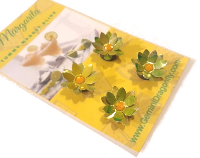 Strong Magnet Set in Yellow and Green, Tiny Flower Magnets, Eco-Friendly Magnet Gift Set