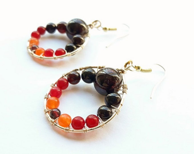 Teardrop Orange and Garnet Gold Hoops , Orange and Gold Boho Hoop Earrings, Semi-precious beaded hoops