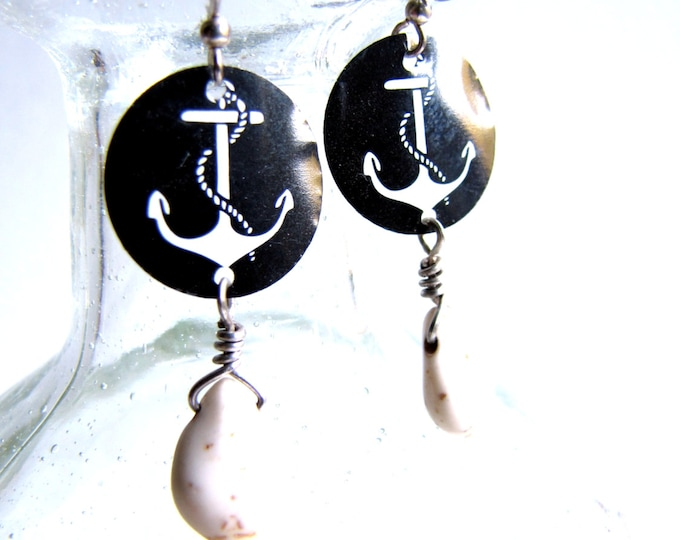 Black and White Anchor Earrings with Stone Teardrop Made with Recycled Soda Cans