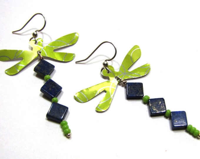 Dragonfly Earrings from Recycled Soda Can and Lapis Lazuli, Blue and Green