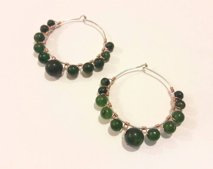 Large Hoop Earrings with Green Agate Gemstones Wire Wrapped in Silver and Copper, Handmade, Modern Hippie Style