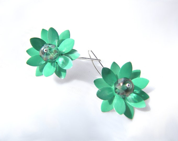 Lotus Earrings with Crystals from Mint Green Recycled Arizona Tea Cans, Eco Friendly Earrings
