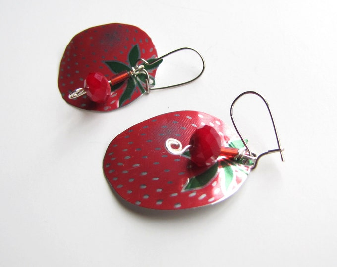 Strawberry Red Earrings Ruby Quartz from Recycled Soda Cans