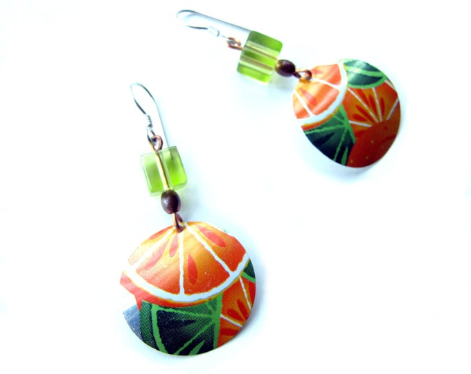 Citrus Delight Earrings - Orange and Green from Recycled Soda Can Earrings