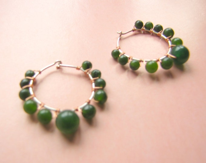 Bohemian Hoop Earrings in Green Agate with Copper and Silver Hand Wire Work, Sundance Style Boho Hoops Earrings