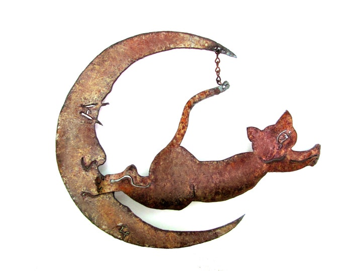 Rusty Cat Jumping Over the Moon Garden Art from Recycled Metal, Free Shipping