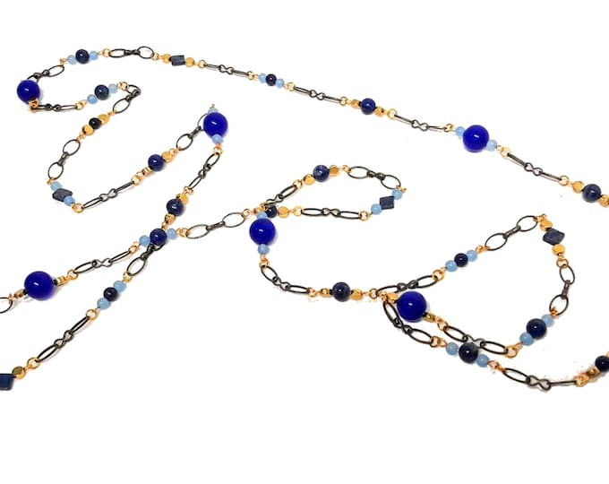Extra Long Necklace, Blue Lapis and Agate Necklace, Layering Necklace, Boho Style Necklace