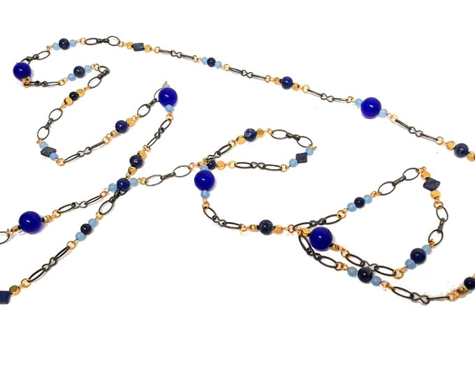 Blue Lapis and Agate Necklace, Extra Long Necklace, Layering Necklace, Boho Style Necklace