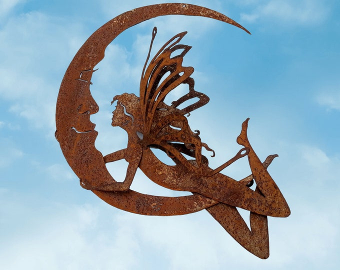 Fairy on Crescent Moon Garden Decor, Large Rusty Metal Fairy, Fairy Moon Patio Decor, Fairy Garden Art