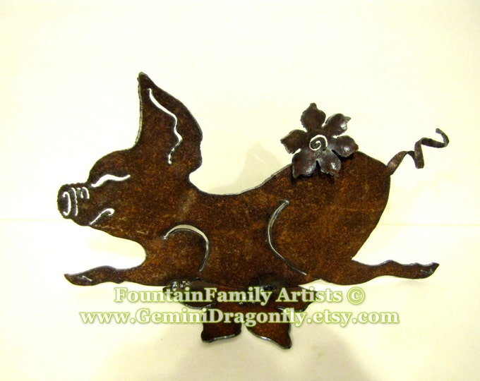 Garden Art Petunia Pig from Rusty Recycled Metal Eco Friendly and Handmade