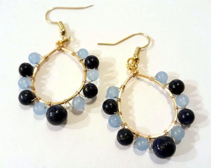 Blue Gemstone Hoop Earrings on Gold Teardrop Hoops, Boho Dangle Earrings with Lapis and Agate