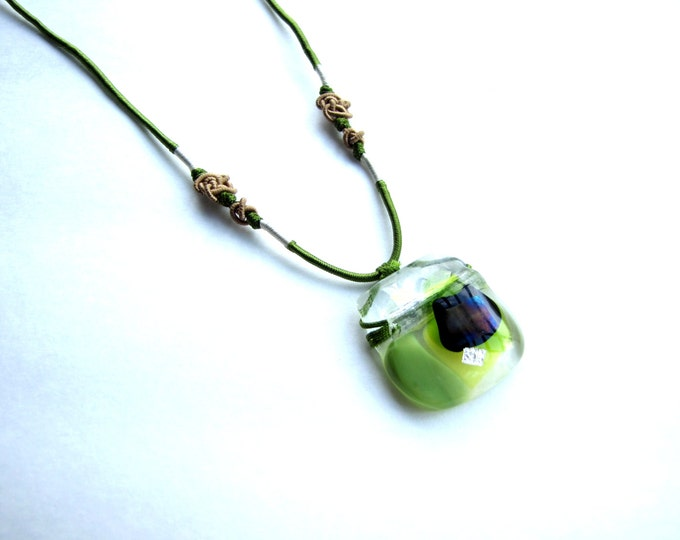 Green Necklace with Dichroic Glass Pendant with Recycled Glass