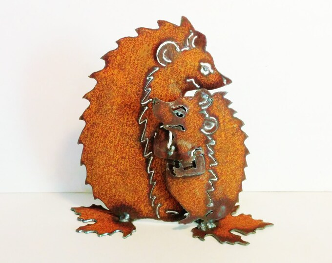 Hedgehog Love Rusty Garden Art from Recycled Metal