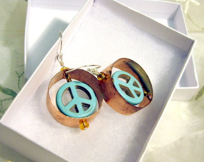 Copper Hoop Earrings with Turquoise Peace Sign - Recycled Metal