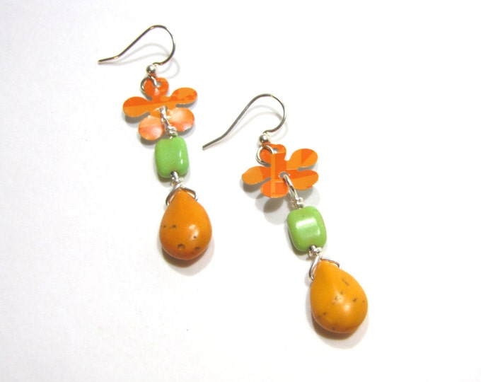 Orange and Green Flower Earrings from Recycled Pop Cans 60s Style