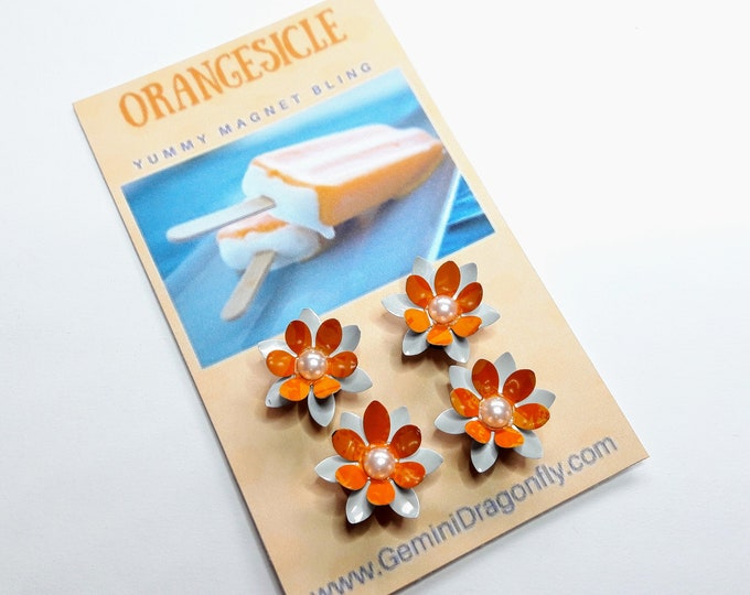 Orange Magnet Set, Flower Magnets, Upcycled Soda Can Magnet Set