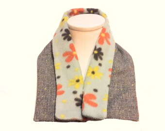 Neck Warmer with Fold Down Collar -- Wool Tweed and Soft Fleece Neck Wrap -- Eco Fashion -- Scarf Alternative in Earth Tones