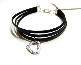 Black Leather Bracelet with Heart Charm and Stacking Layering Styling
