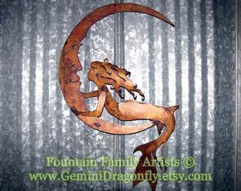 Mermaid on Crescent Moon, Rusty Mermaid Moon Garden Art, Recycled Metal