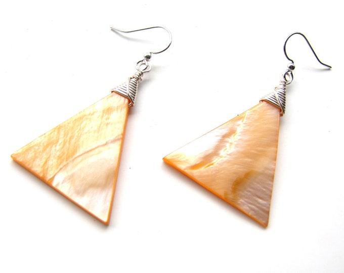 Creamsicle Orange Shell Earrings with Silver Wire Wrap, Mother of Pearl Earrings, Handmade Earrings, Peach Earrings, Beach Jewelry