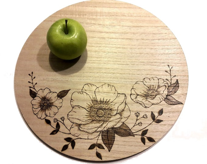 Wooden Charger with Magnolia Bouquet, Centerpiece Charger, Wood Burned Bouquet Table Decor
