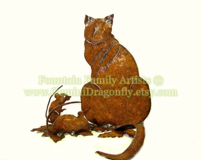 Fat Cat and Mice Garden Art, Cat and Mouse Home Decor Handmade from Rusty Recycled Metal, Eco Friendly Gift