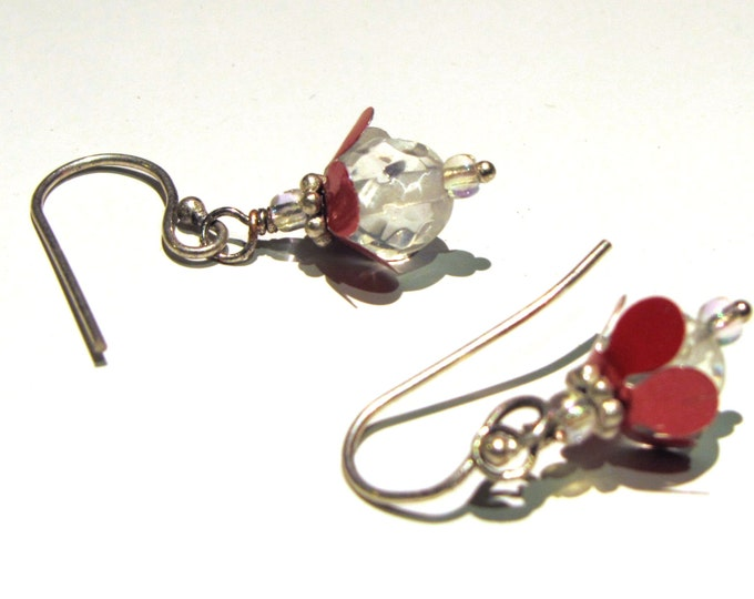 Tiny Flower Earrings, Lightweight Earrings , Pink Flower Earrings with Crystal Handmade and Eco Friendly
