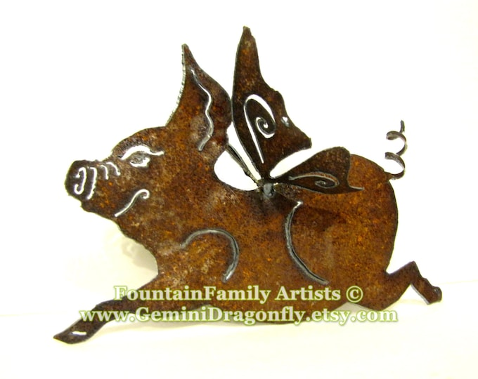 Flying Pig Rusty Garden Art from Recycled Metal