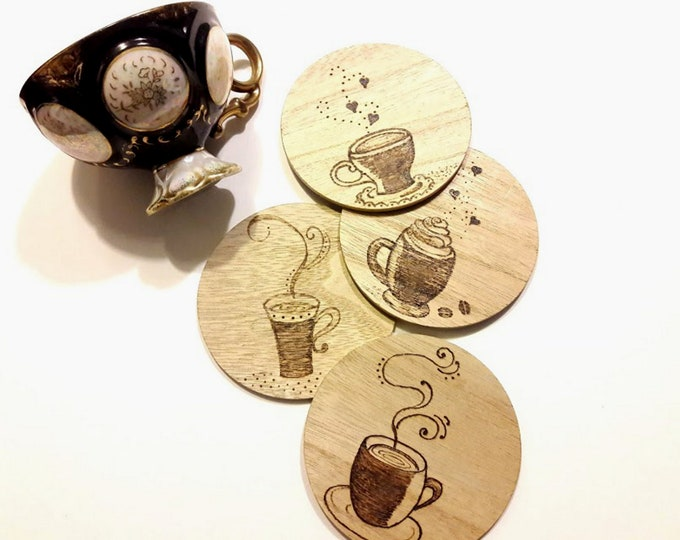 Cute Coaster Set with Coffee Cup Designs, Wood Coaster Set of 4 for Coffee Lovers, Wood Burned Coffee Coasters