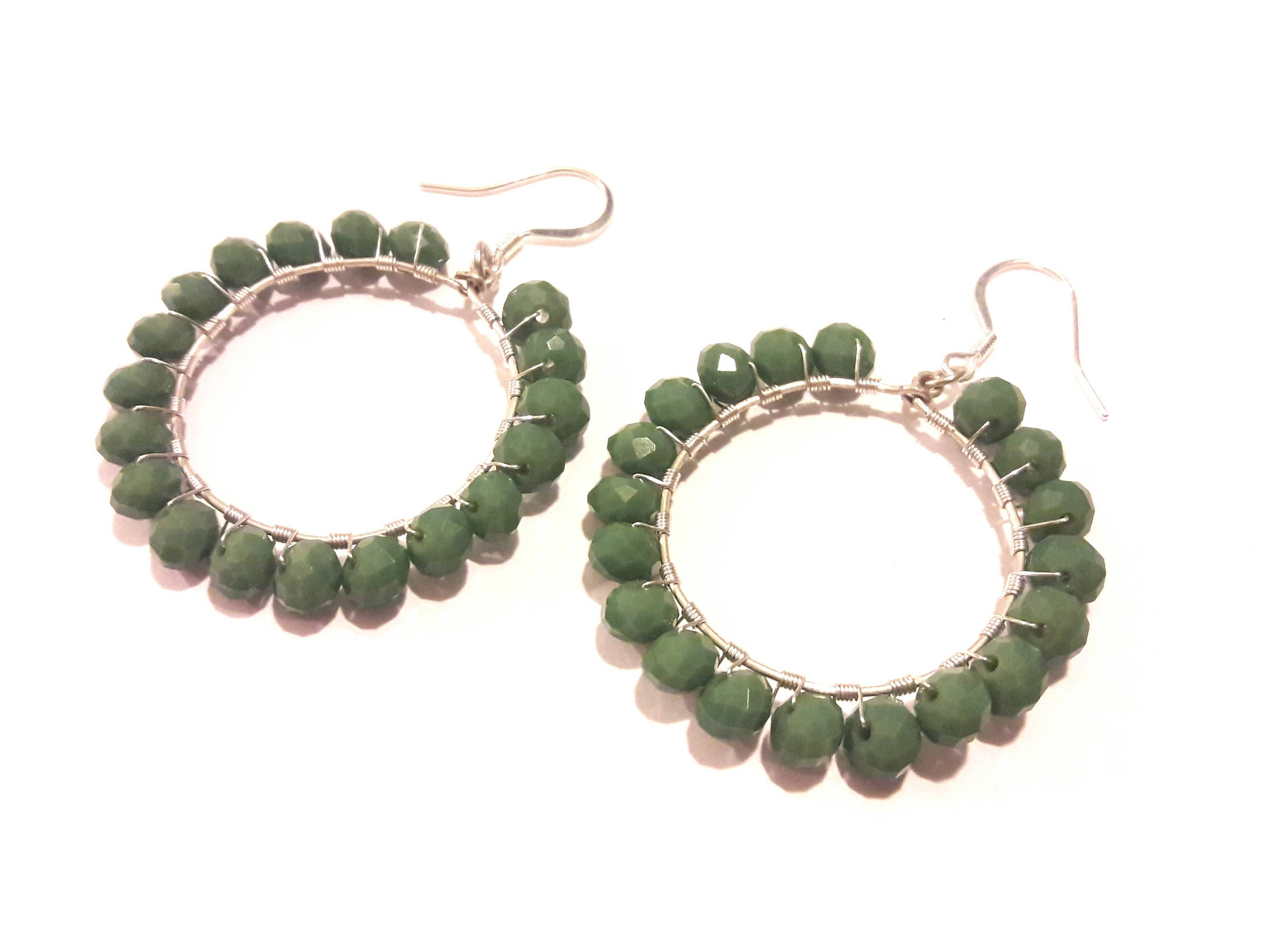 Sage Green Earrings, Large Hoops, Handmade Wire Wrapped Silver and ...