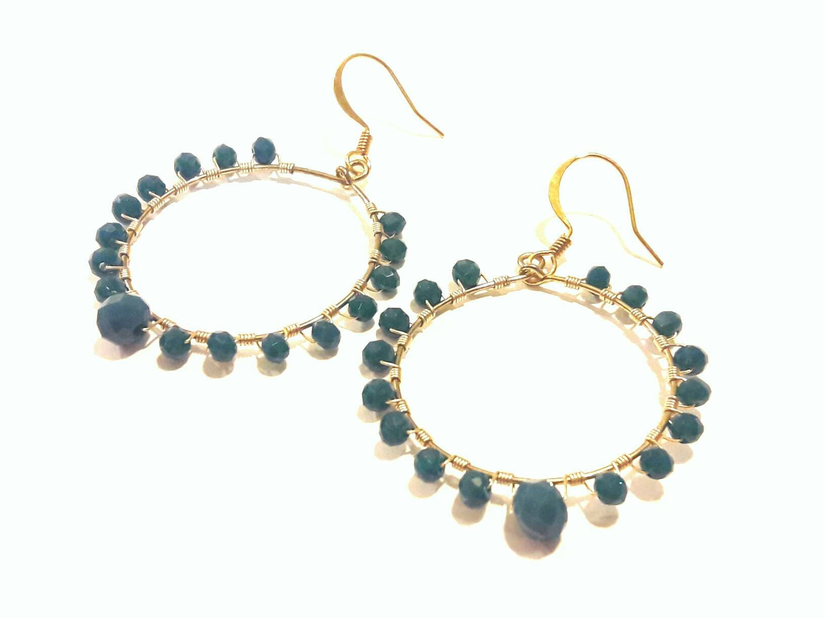 Turquoise Hoop Earrings with Gold Wire Wrap, Sophisticated Style ...