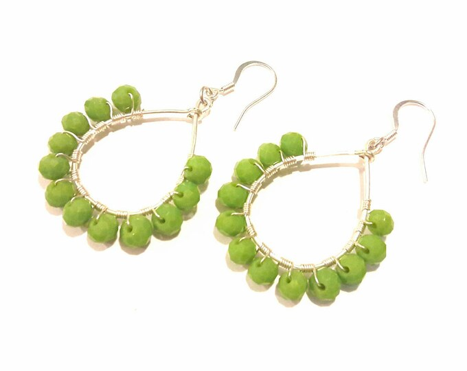Teardrop Hoop Earrings with Green Apple Beads and Silver Wire Wrap