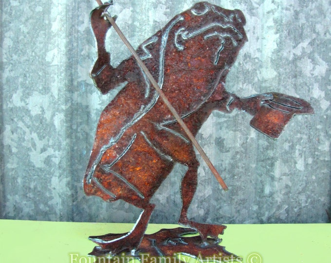 Toad Frog Garden Art Handmade from Rusty Recycled Metal