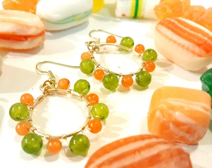 Green and Orange Teardrop Earrings on Gold Hoops, Dangle Hoop Boho Earrings, Medium Hoops