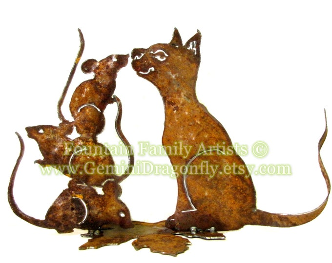 Cat and Mouse - Mice - Garden Art from Recycled Metal - Eco Friendly Gardener Gift