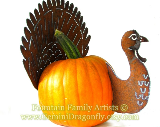 Rusty Turkey Pumpkin Kit DIY Garden Art Fall Home Decor Handmade from Recycled Metal