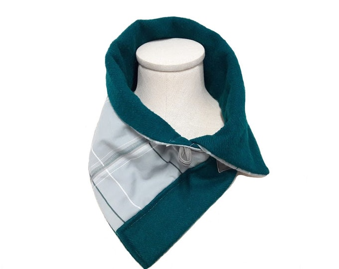 Gray Plaid and Teal Green Neck Warmer, Unisex Gray Crossover Scarf Alternative Eco Friendly Winter Gift